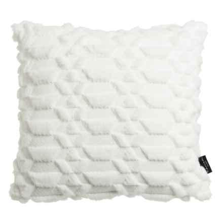 "Tahari Drezna Faux-Fur Decor Pillow - 20x20"", Feathers in White - Closeouts"