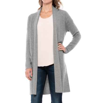 Tahari Drop-Shoulder Cashmere Cardigan Sweater - Open Front (For Women) in Steeple Grey Heather - Closeouts