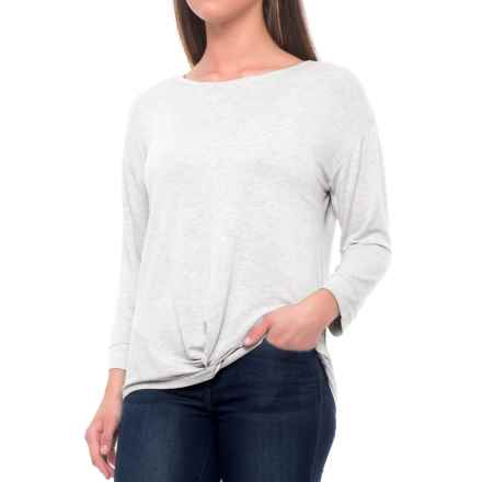Tahari Extended Shoulder Knot-Front Shirt - Long Sleeve (For Women) in Light Grey Heather - Closeouts