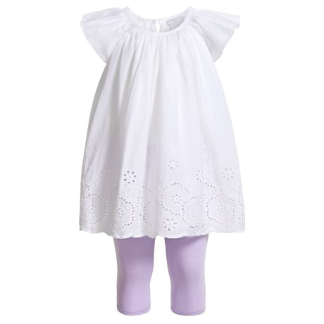 Tahari Flutter Sleeve Dress and Capris Set - 2-Piece, Short Sleeve (For Infant Girls) in White Lilac