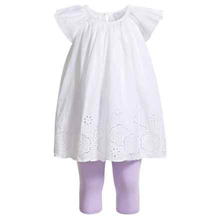 Tahari Flutter Sleeve Dress and Capris Set - Short Sleeve (For Newborn Girls) in White Lilac - Closeouts