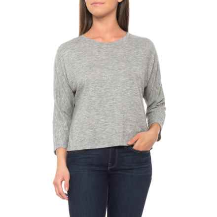 Tahari Hi-Low Oversized Crop Shirt - 3/4 Sleeve (For Women) in Cozy Light Grey - Closeouts