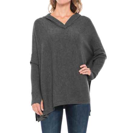 Tahari Hooded Cashmere Poncho (For Women) in True Charcoal Heather - Closeouts