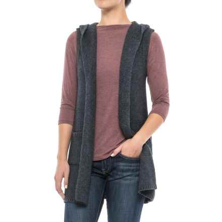 Tahari Hooded Sweater Vest - Open Front (For Women) in Charcoal Heather - Closeouts