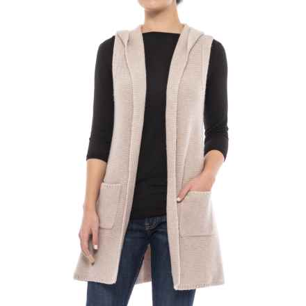 Tahari Hooded Sweater Vest - Open Front (For Women) in Light Truffle Heather - Closeouts