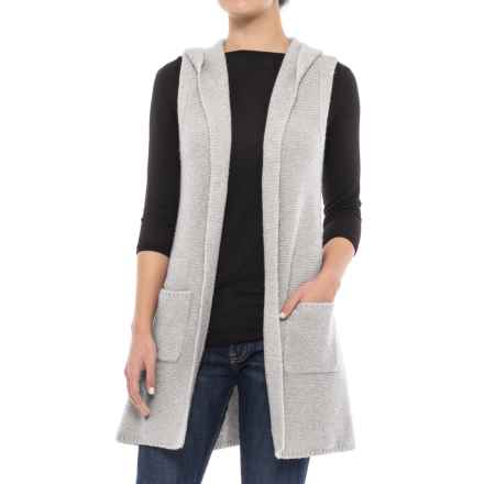 Tahari Hooded Sweater Vest - Open Front (For Women) in Pale Grey Heather - Closeouts