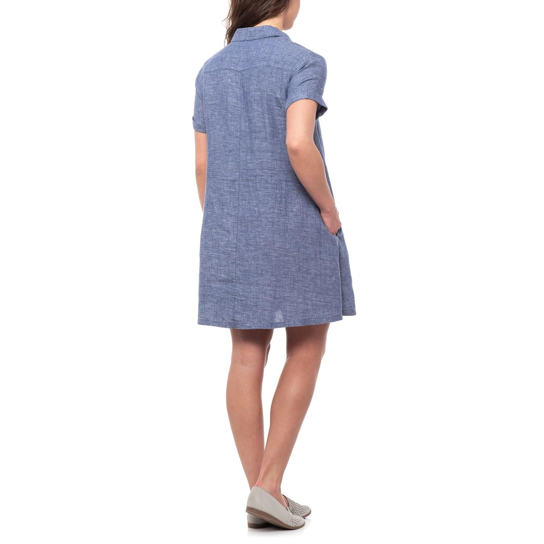 41c2c0b10e46c Tahari Indigo Crossdye A-Line Dress - Linen, Short Sleeve (For Women)