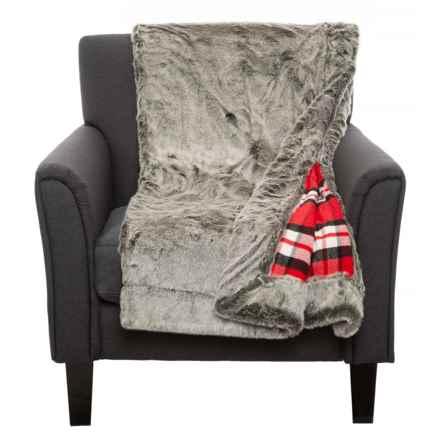 "Tahari Lansing Reversible Throw Blanket - 50x60"", Faux Fur in Grey/Red - Closeouts"