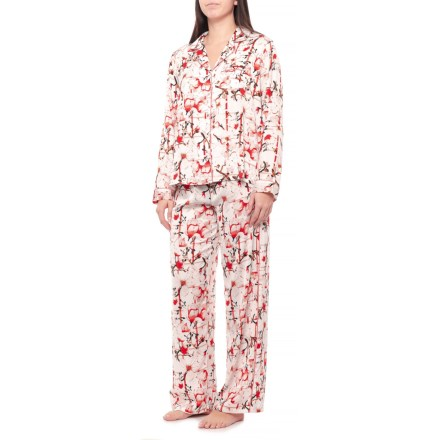 10e4b63402 Tahari Large Floral Satin Notch Collar Pajamas - Long Sleeve (For Women) in  White