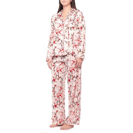 Tahari Large Floral Satin Notch Collar Pajamas - Long Sleeve (For Women) in  White 068903c26
