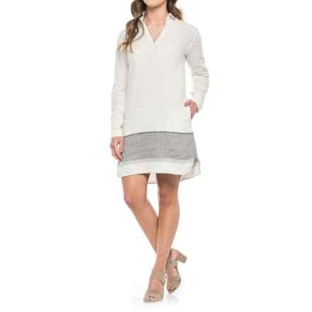 Tahari Linen Stripe Dress - Long Sleeve (For Women) in Linen Stripe - Closeouts