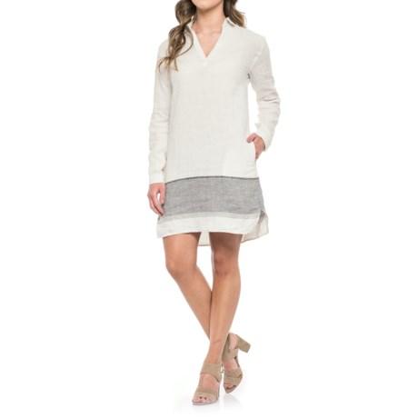 Tahari Linen Stripe Dress - Long Sleeve (For Women) in Linen Stripe