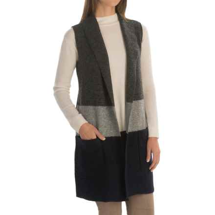 Tahari Long Color-Blocked Wool Vest (For Women) in Charcoal/Grey/Navy - Closeouts