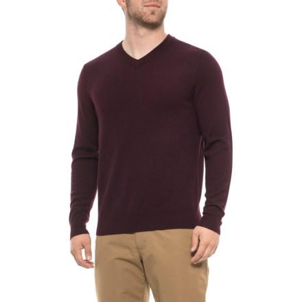 1a6f857517e Tahari Merino Wool Sweater - V-Neck (For Men) in Mahogany - Closeouts