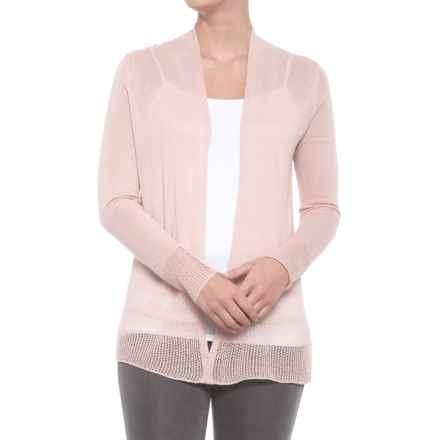 Tahari Mesh Cardigan Sweater - Linen, Open Front (For Women) in Bare - Closeouts