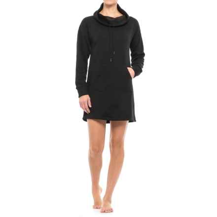 Tahari Nightshirt with Kangaroo Pocket - Cowl Neck, Long Sleeve (For Women) in Black - Closeouts