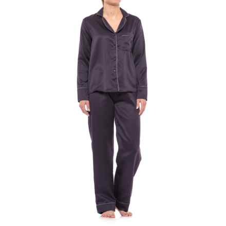 Tahari Notch Collar Satin Pajamas - Long Sleeve (For Women) in Regal - Closeouts