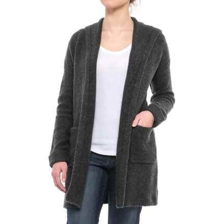 Tahari Oversized Hooded Cardigan Sweater (For Women) in True Charcoal Heather - Closeouts