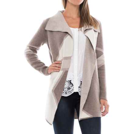 Tahari Patterned Double-Knit Cashmere Sweater (For Women) in Taupe Night Heather/Agate Heather/Sweet Vanilla - Closeouts