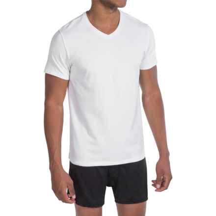 Tahari Pima Cotton Blend Jersey T-Shirt - V-Neck, Short Sleeve (For Men) in White - Closeouts