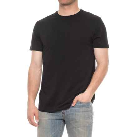 Tahari Pima Cotton Crew Neck Shirt - Short Sleeve (For Men) in Jet Black - Closeouts