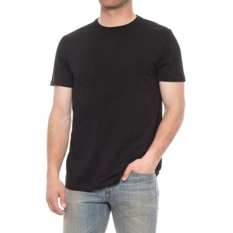 Tahari Pima Cotton Crew Neck Shirt - Short Sleeve (For Men) in Jet Black