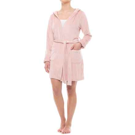 Tahari Plush Robe with Pockets - Hooded, Long Sleeve (For Women) in Victorian Pink - Closeouts