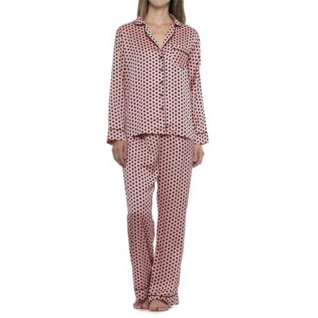 Tahari Polka-Dot Pajamas - Long Sleeve (For Women) in Pink/Black