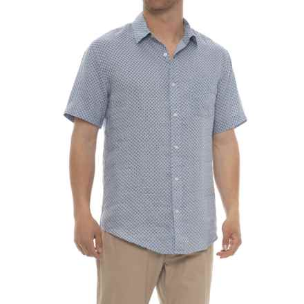 Tahari Printed Woven Linen Shirt - Short Sleeve (For Men) in Blossom Tile Ditzy - Closeouts