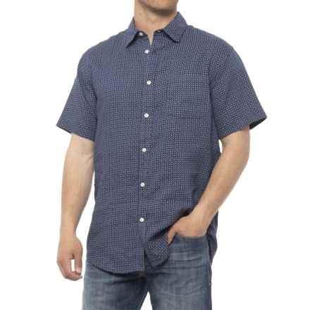 Tahari Printed Woven Linen Shirt - Short Sleeve (For Men) in Vinyl Record Ditzy - Closeouts