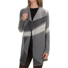 Tahari Pure Luxe Cashmere Cardigan Sweater - Open Front (For Women) in Grey Combo - Closeouts