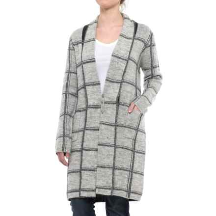 Tahari Recovery Yarn Patterned Cardigan Sweater - Wool Blend (For Women) in Light Grey/Charcoal - Closeouts
