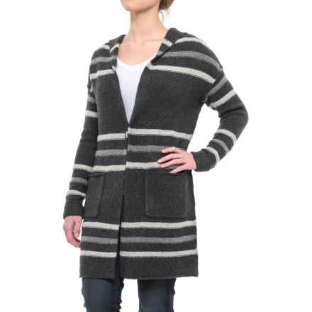 Tahari Recovery Yarn Tunic Cardigan Sweater - Hooded (For Women) in Charcoal Heather Ground/Smog Heather/Pebble Heathe - Closeouts