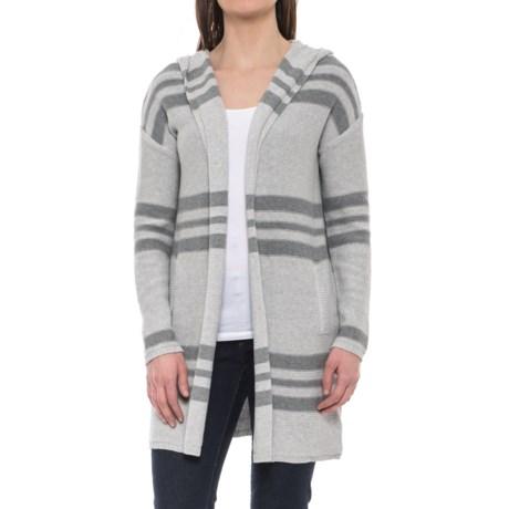 Tahari Repeat Stripe Cotton Cardigan Sweater - Hooded (For Women) in Dove Heather Grey/Granite Heather Stripe