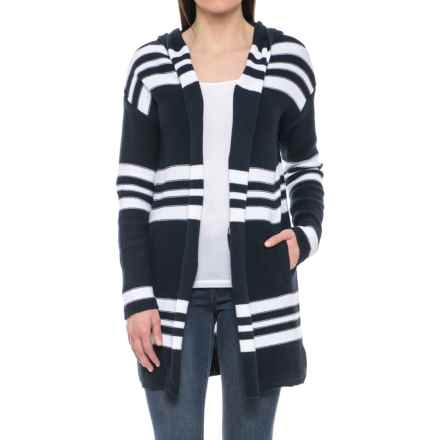 Tahari Repeat Stripe Cotton Cardigan Sweater - Hooded (For Women) in Navy/White Stripe - Closeouts
