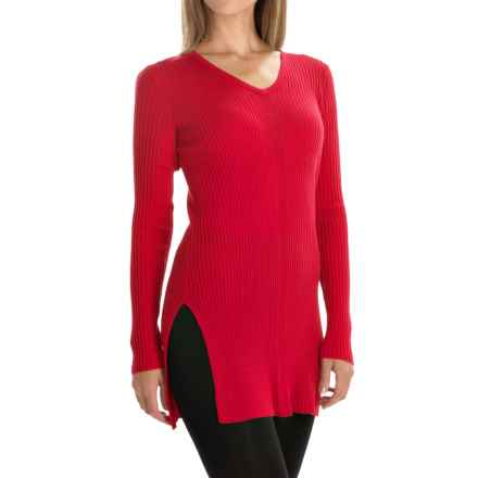 Tahari Rib-Knit Sweater - Merino Wool (For Women) in Cabernet Red - Closeouts