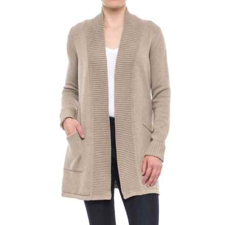 Tahari Ribbed Open Cardigan Sweater (For Women) in Hemp Solid - Closeouts