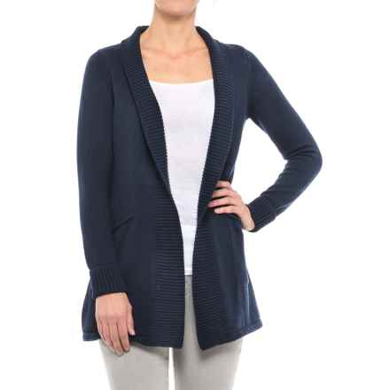 Tahari Ribbed Open Cardigan Sweater (For Women) in Navy - Closeouts