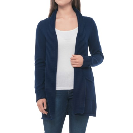 Tahari Ribbed Open Cardigan Sweater (For Women) in Oxford Navy Solid