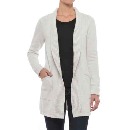 Tahari Ribbed Open Cardigan Sweater (For Women) in Silver Heather - Closeouts