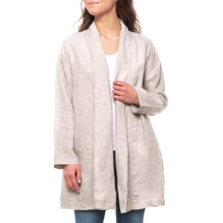 Tahari Safari Khaki Shawl Collar Open Jacket (For Women) in Safari Khaki Crossdye - Closeouts