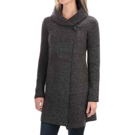Tahari Shawl Collar Long Cardigan Sweater (For Women) in Grey/Black - Closeouts