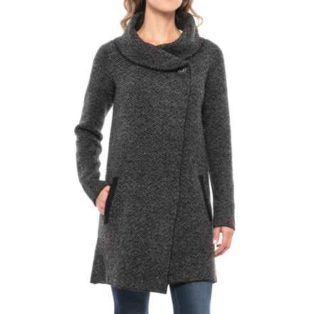 Tahari Shawl Collar Sweater Jacket (For Women) in Charcoal/Black - Closeouts