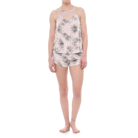 Tahari Sketched Floral Tank Top and Shorts Pajamas - Sleeveless (For Women) in Blush