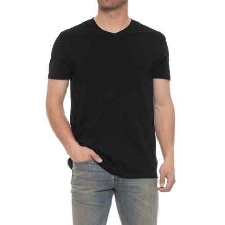 Tahari Slim Fit V-Neck Shirt - Short Sleeve (For Men) in Jet Black - Closeouts