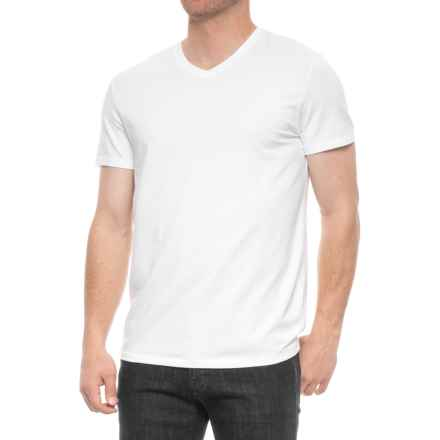 Tahari Slim Fit V-Neck Shirt - Short Sleeve (For Men) in White - Closeouts