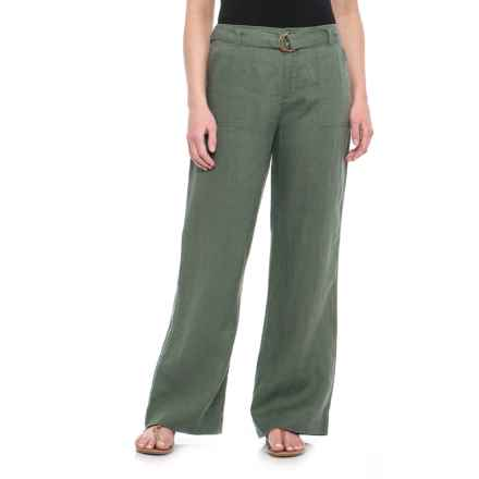 Tahari Solid Fly-Front Belted Pants - Linen (For Women) in Kale - Closeouts