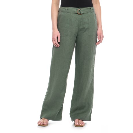 Tahari Solid Fly-Front Belted Pants - Linen (For Women) in Kale