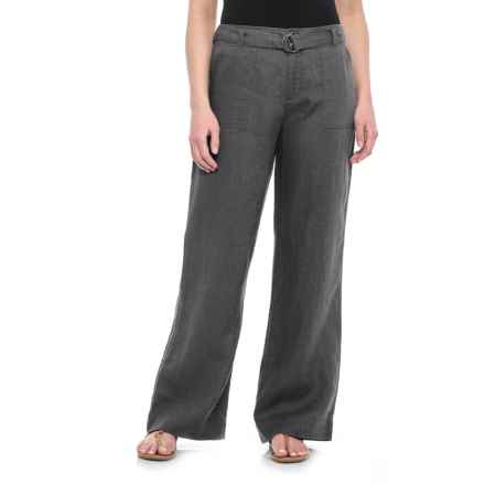 Tahari Solid Fly-Front Belted Pants - Linen (For Women) in Soot - Closeouts