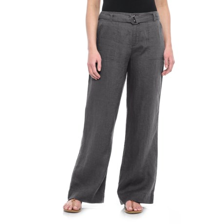 Tahari Solid Fly-Front Belted Pants - Linen (For Women) in Soot